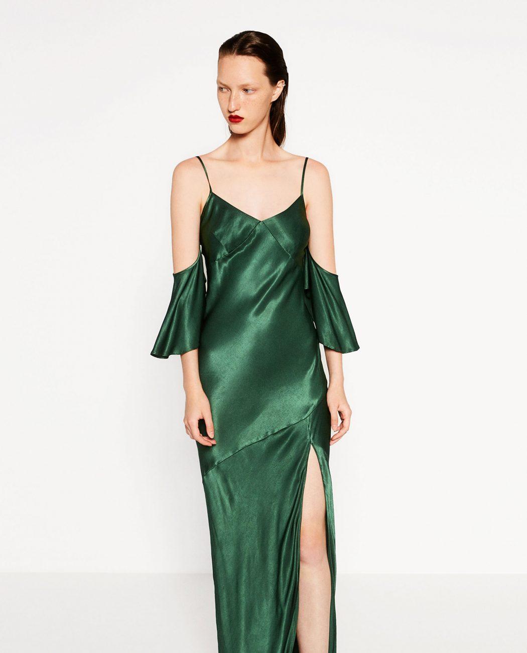 Vestido lencero largo verde